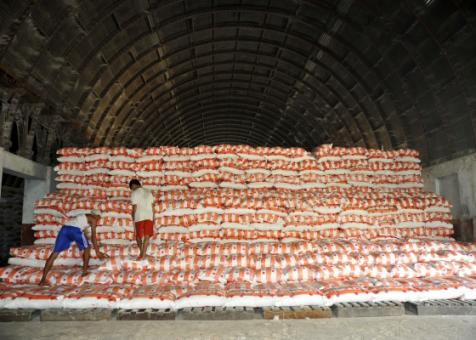 An Adipati warehouse. Adipati, a leading rice trader in Burma, is owned by the military.