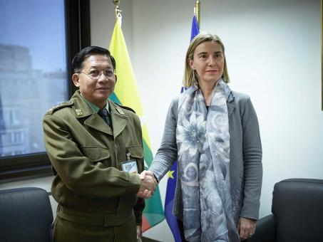 Senior General Min Aung Hlaing meets High Representative Federica Mogherini in Brussels Nov 2016